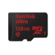 SanDisk 128GB 80MB/s Ultra Micro SD Memory Cards with SD Adapter - SDSQUNC-128G
