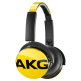 AKG Y50 Yellow On-Ear Headphone with In-Line One-Button Universal Remote/Microphone - Yellow
