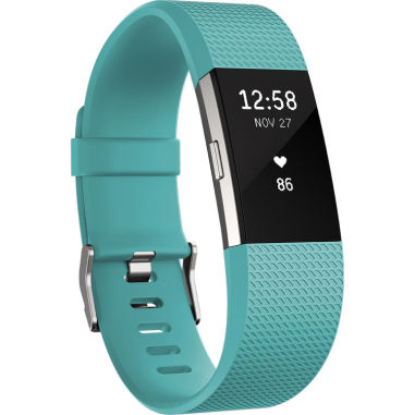 Fitbit Charge 2 Heart Rate + Fitness Wristband - Large Teal Silver