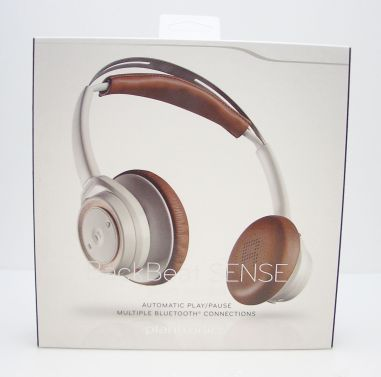 Back Beat Sense Wireless Headphones + Mic - White/Brown