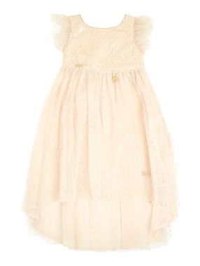 Disney The Boutique Collection Girls Tinkerbelle Sequin Dip Hem, Pale Pink