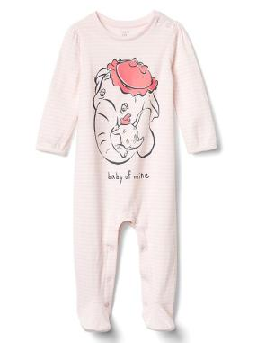 Babygap &#124 Disney Baby Dumbo Double Face Footed One Piece - Cherry blossom