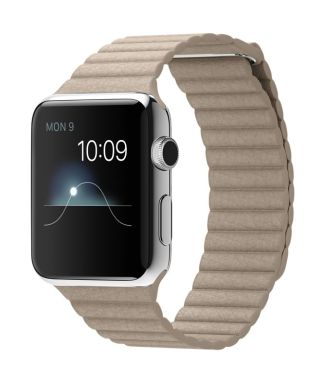 Apple Watch MJ442 42mm Stainless Steel Case with Stone Leather (Large)