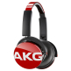 AKG Y50 Red On-Ear Headphone with In-Line One-Button Universal Remote/Microphone - Red